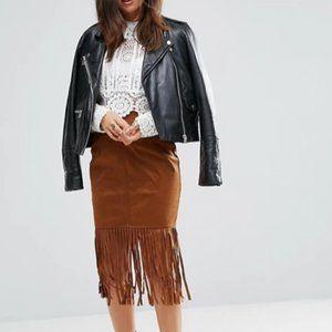 Brown Suede Tassel Trim Skirt Size XS NWT